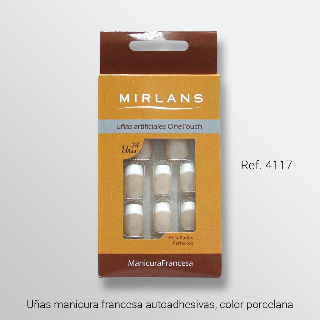 Uñas manicura francesa autoadhesivas, color porcelana