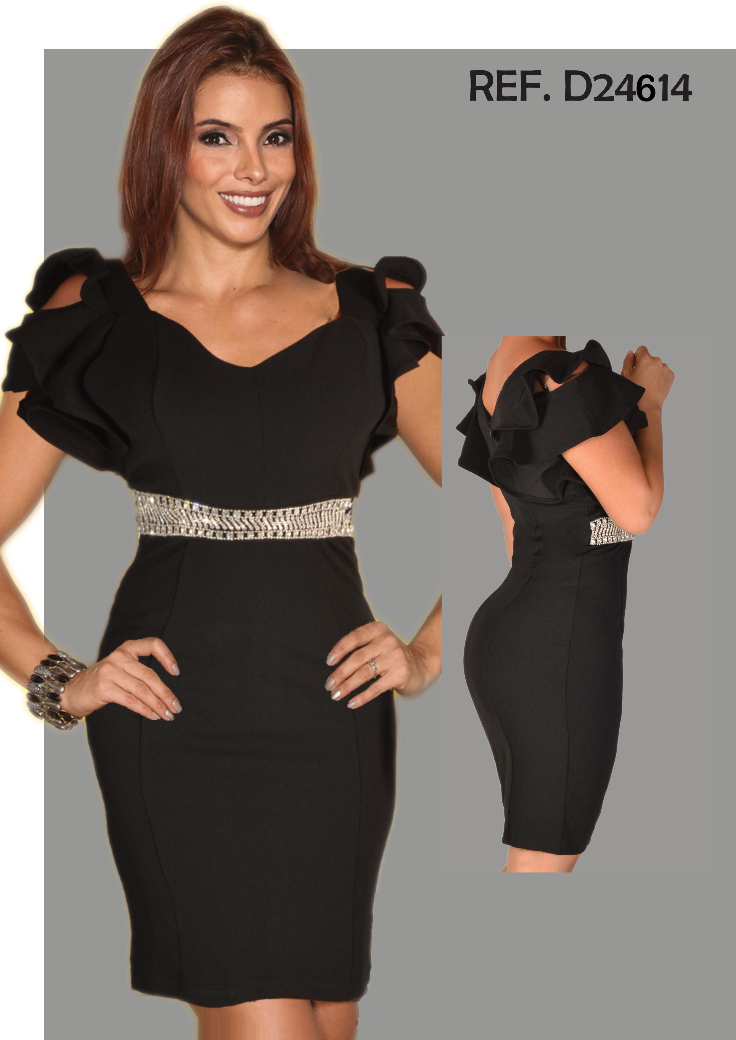 Sensational American Lady Dress Black Color with Belt Design in Classic Long Rhinestones at the Knee