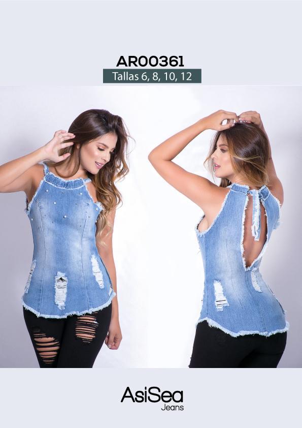 Blusa sexy manga corta de jean colombiana
