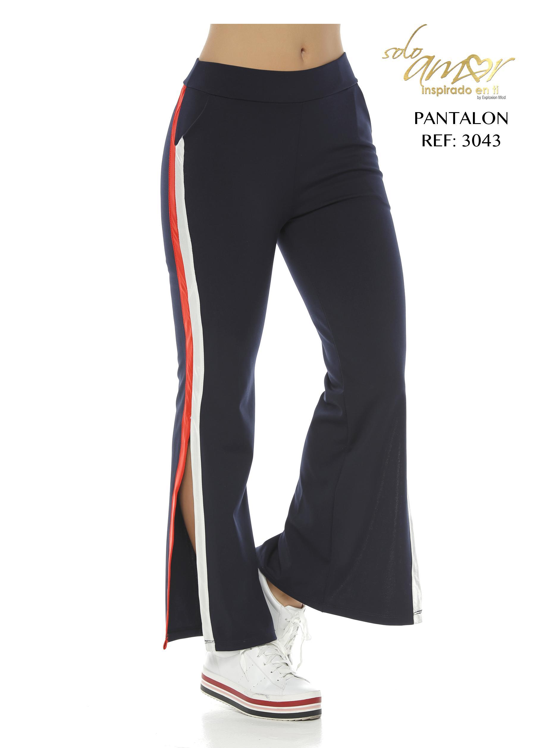 Pantalón de Dama Amplio con Aplique Lateral