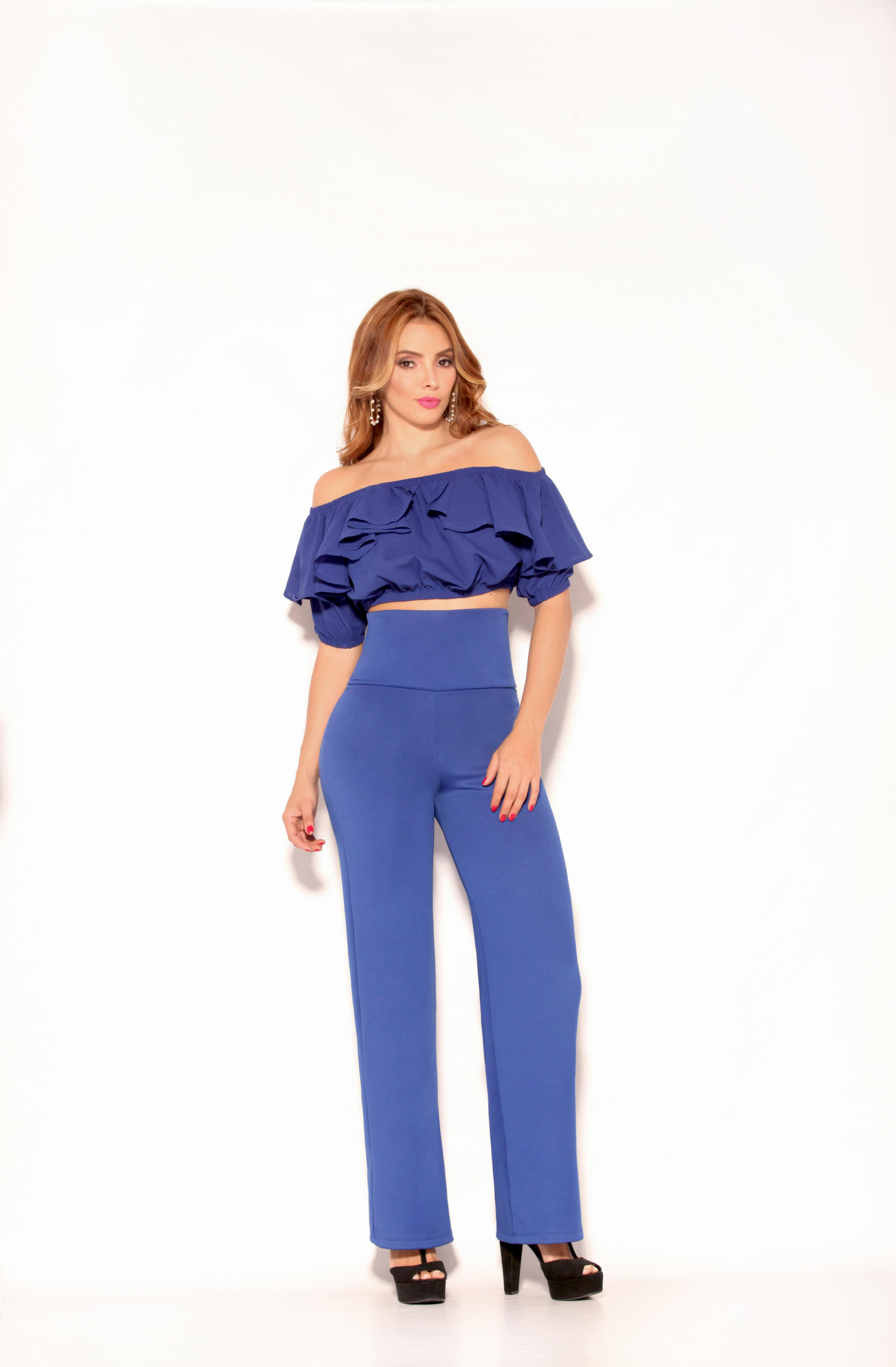 Colombian Pant and Blouse Set, with abdomen control Waistband and Modern Layered Blouse