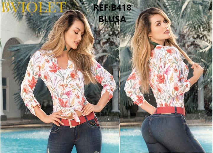 Colombian blouse for women with Floral print and Long sleeves