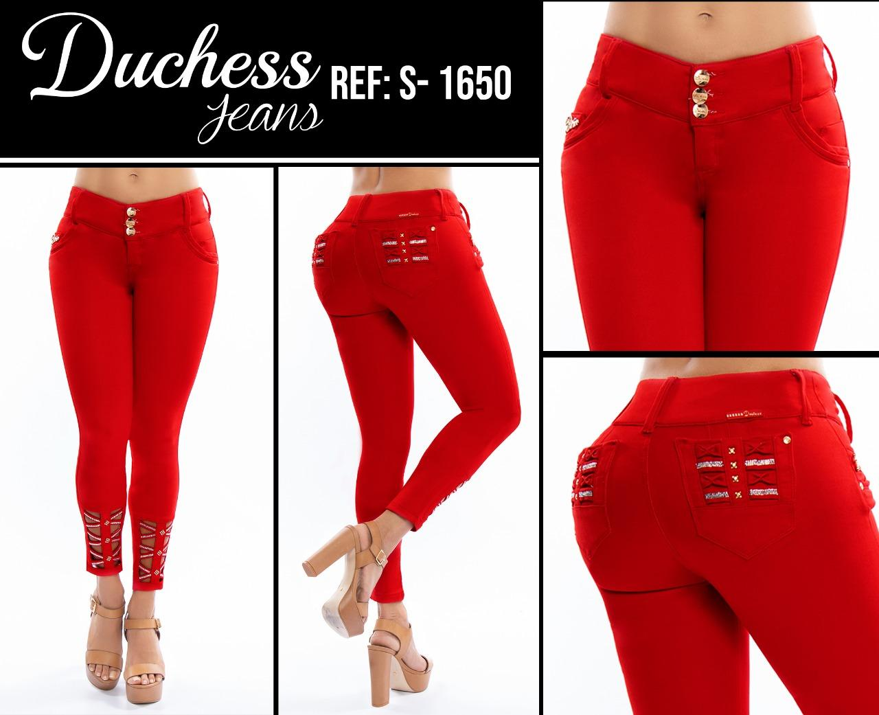 Colombian Red Denim Jean Jeans, with Back Pockets