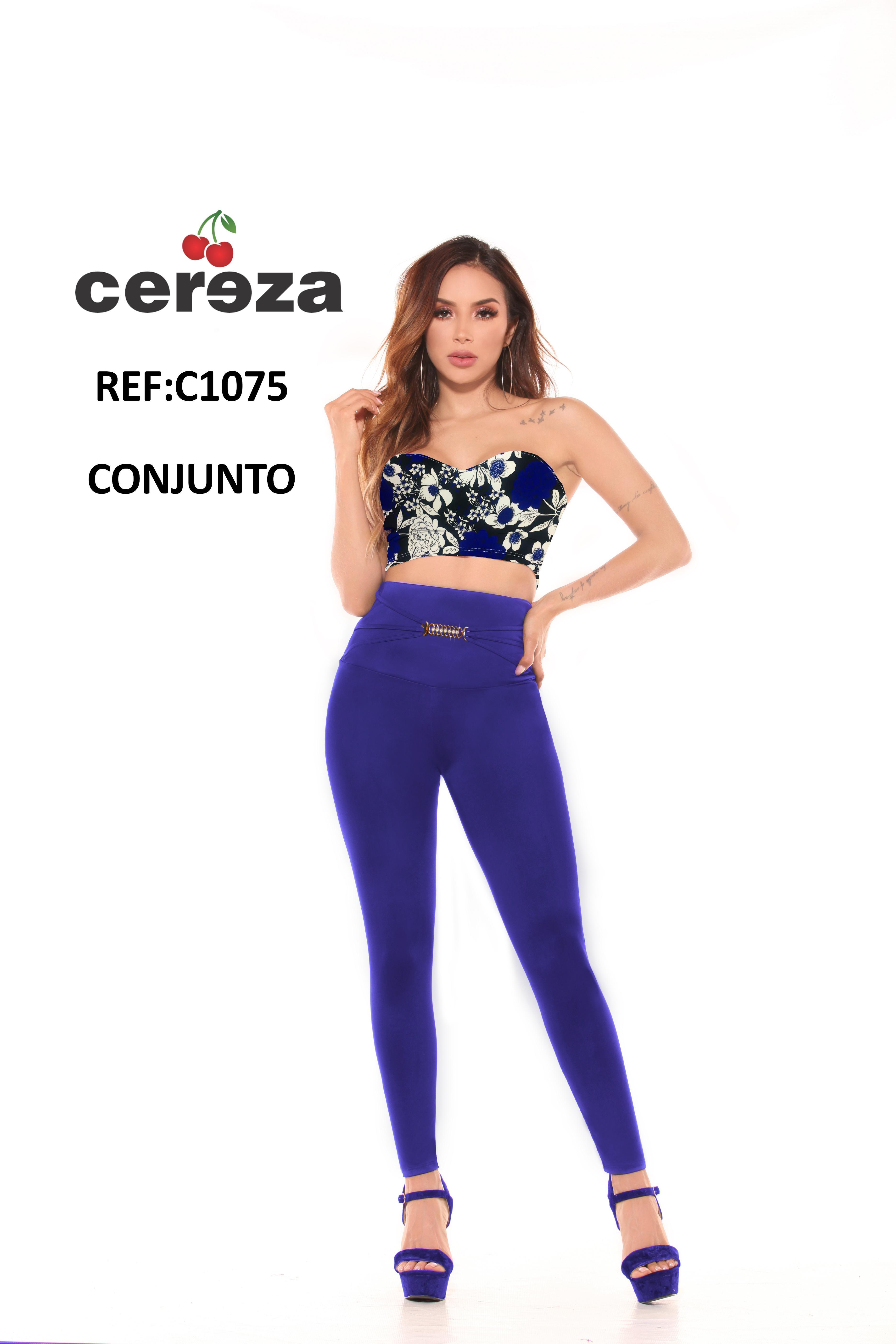 Conjunto Colombiano de Blusa Azul decorado Floral y Pantalón Azul para dama con Cintura Alta y con control de Abdomen