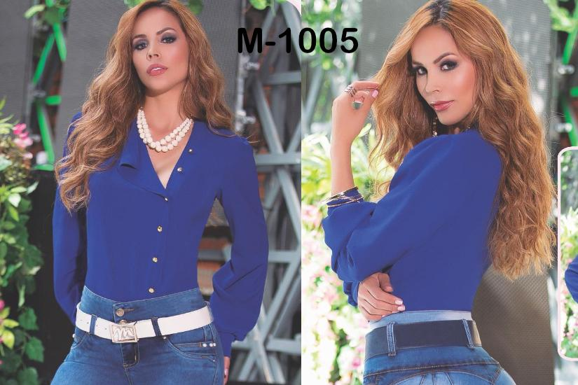 Lady Shirt with long sleeves and side-style buttons