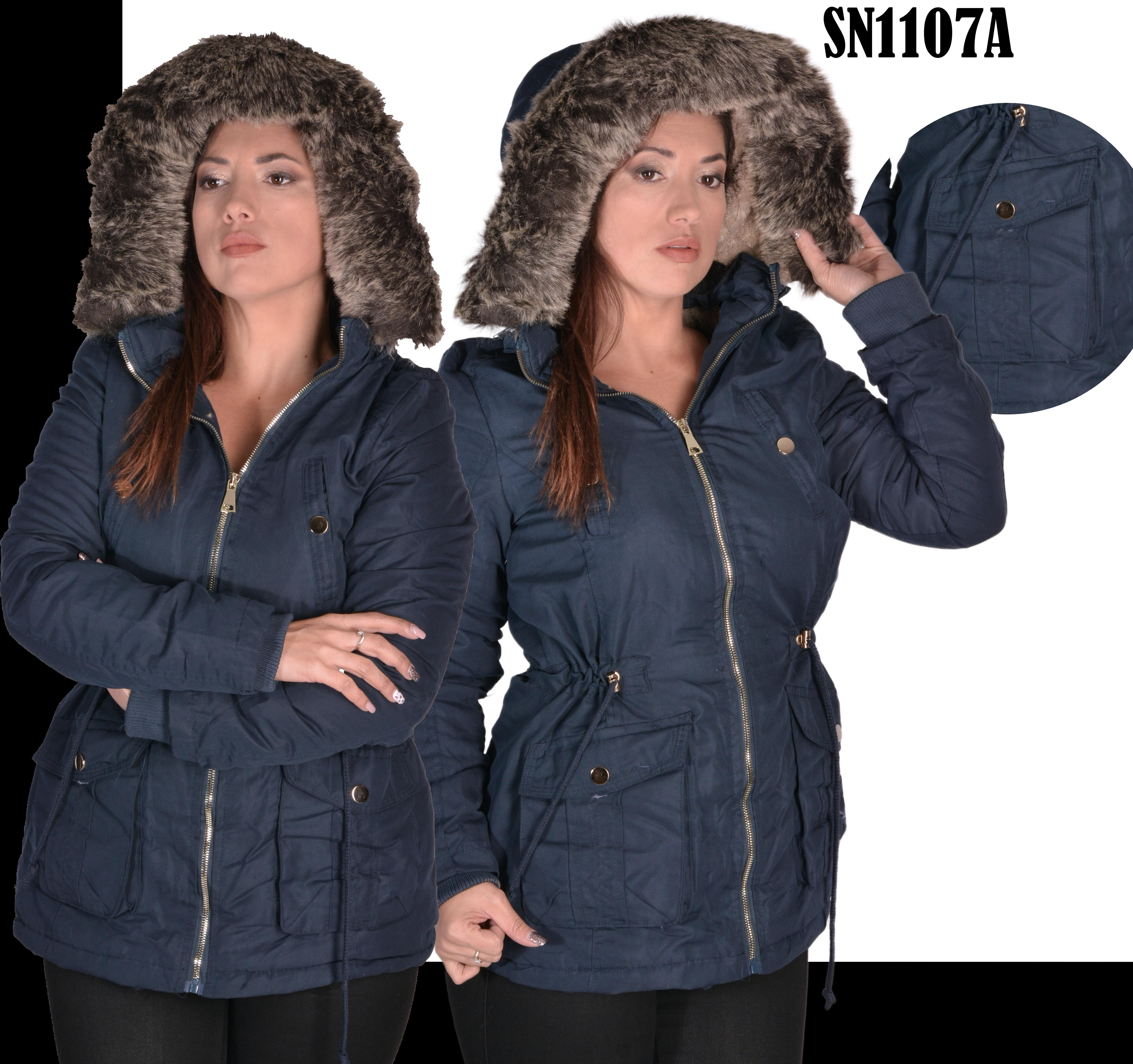 Jacket With Warm Polar Fleece Cap with pockets and zippers dark blue.
