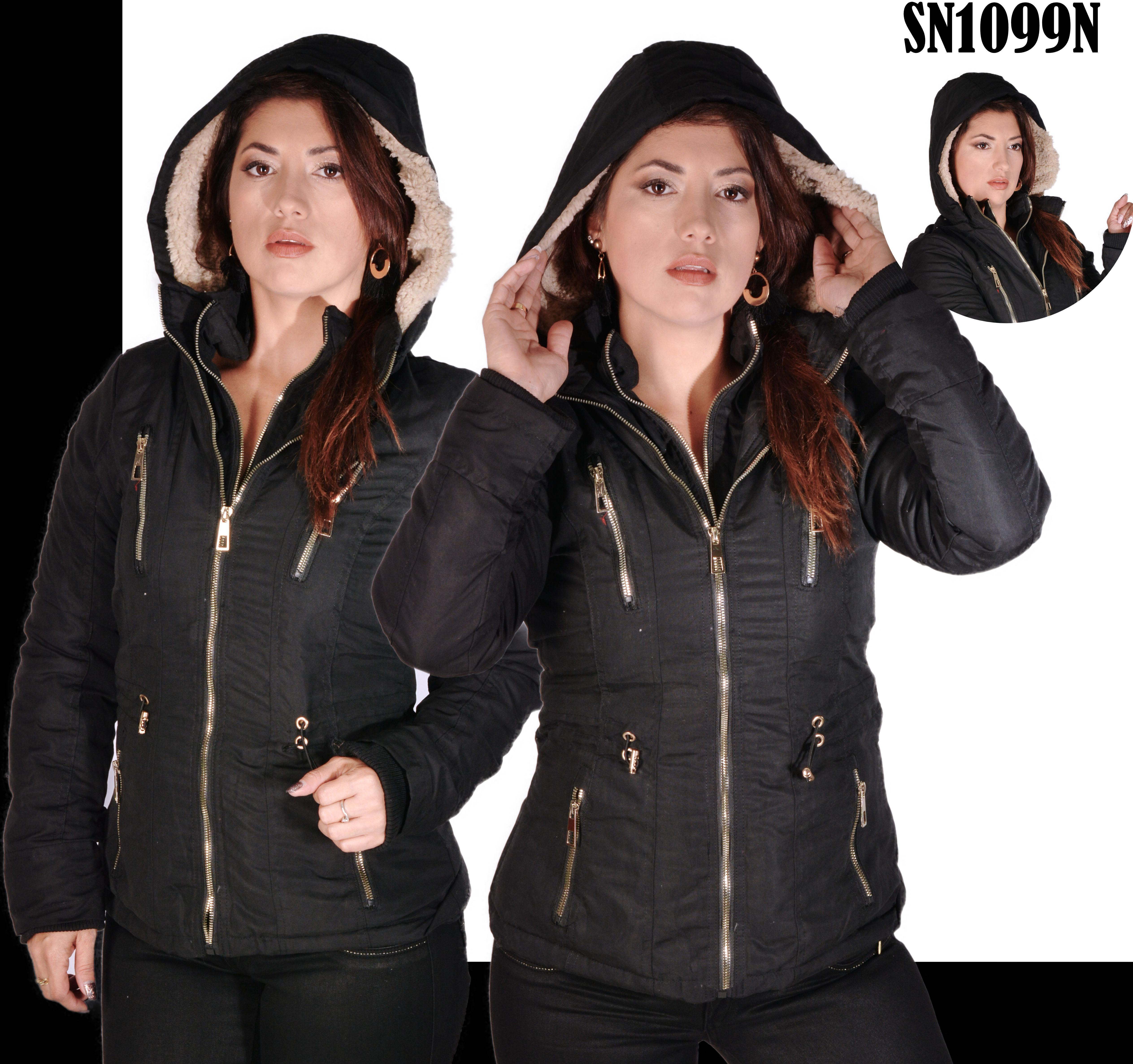 American Fashion jacket with cap and Double Seam Color Black