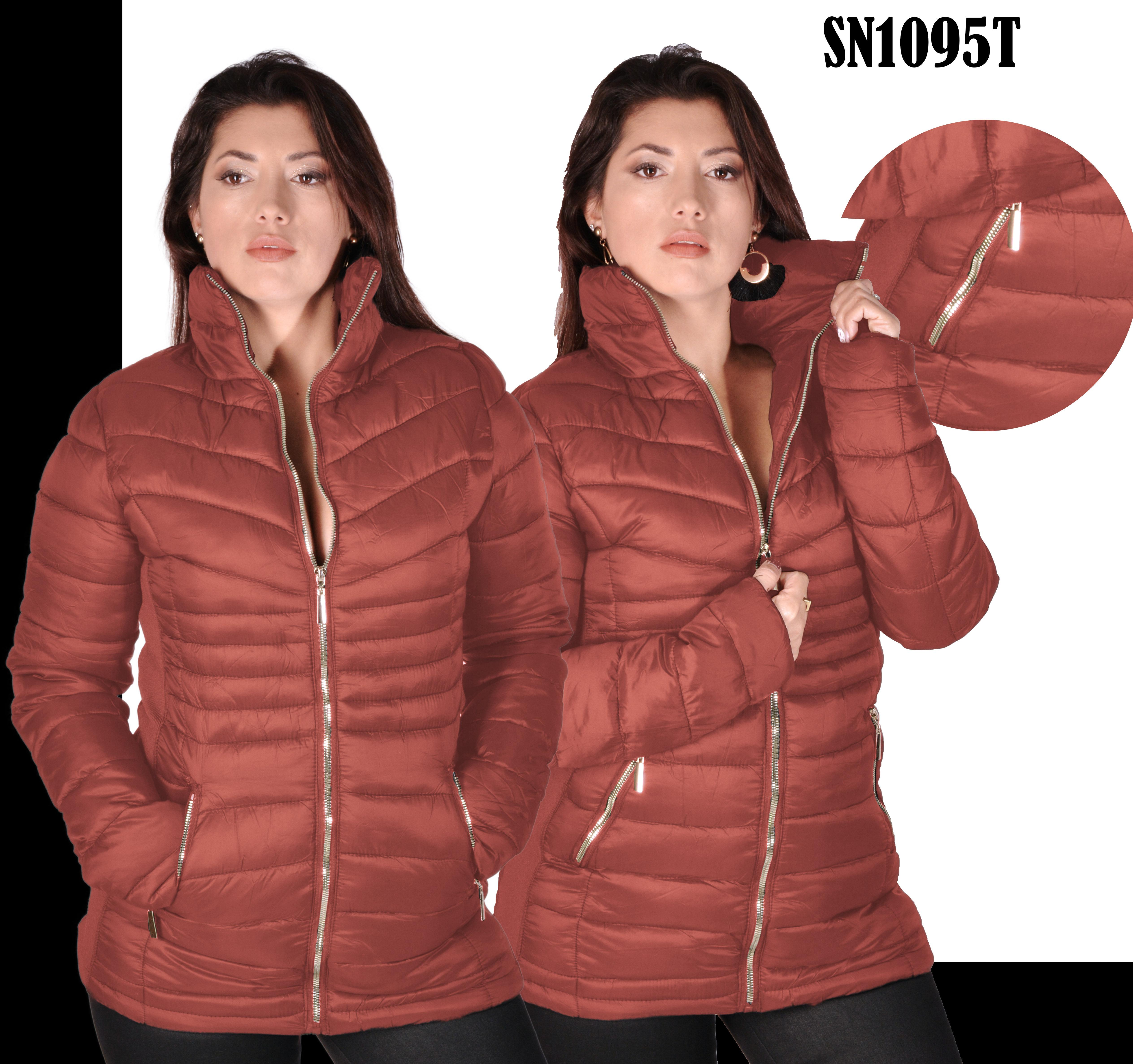 American jacket with high collar and front pockets Color Terracotta Fashion