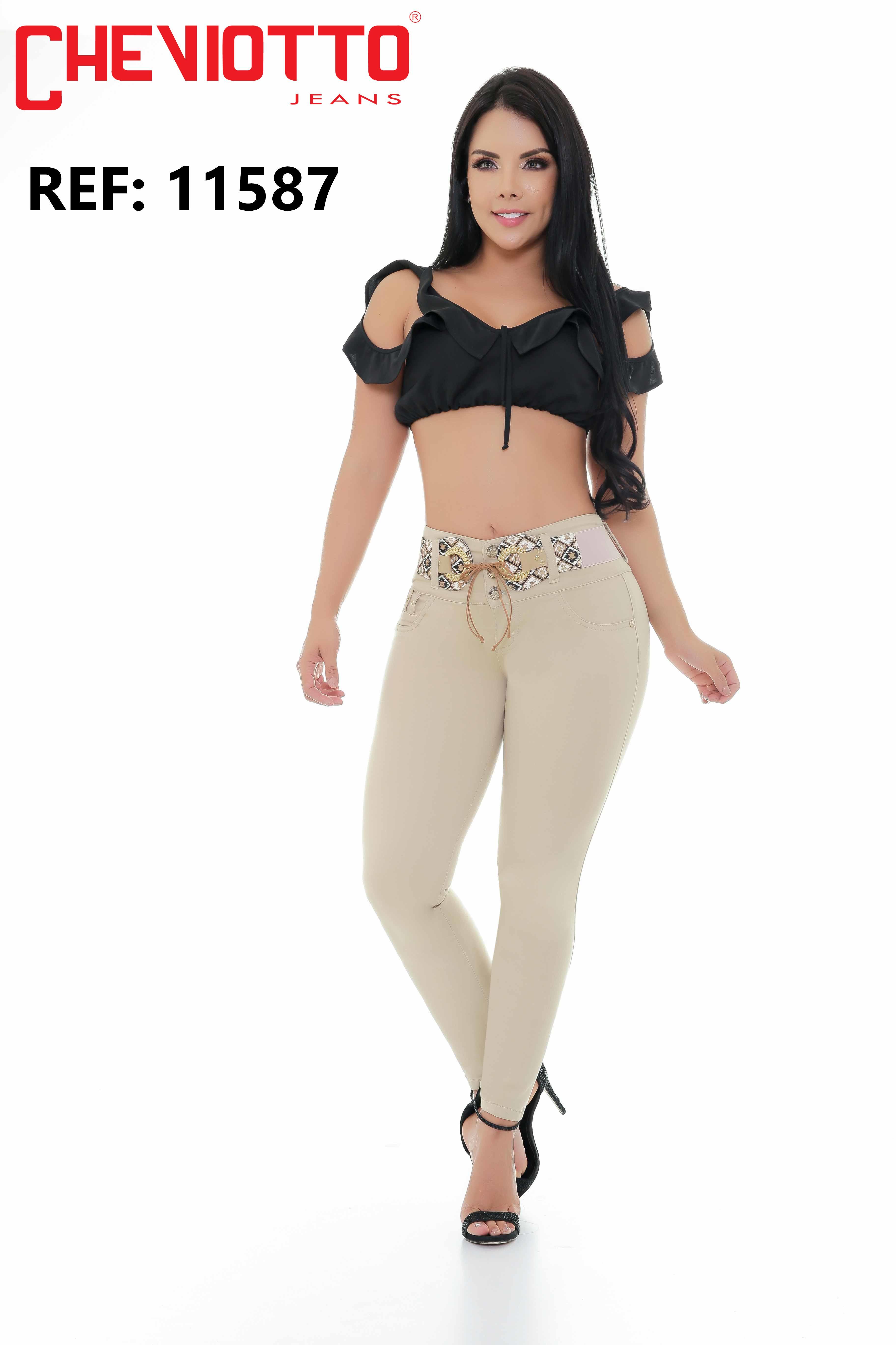 High waistband jeans lady