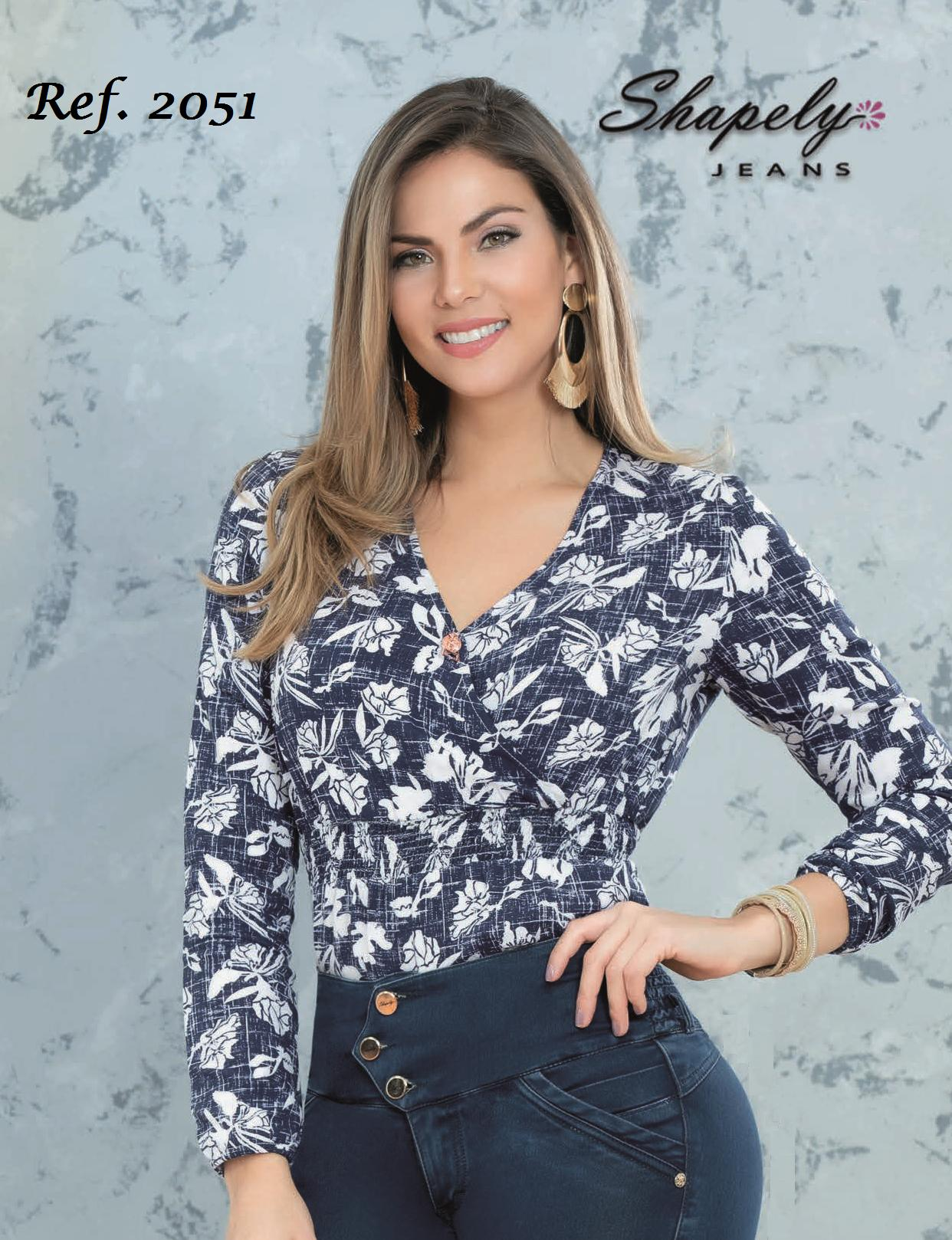 Colombian Fashion Long Sleeve Blouse with print