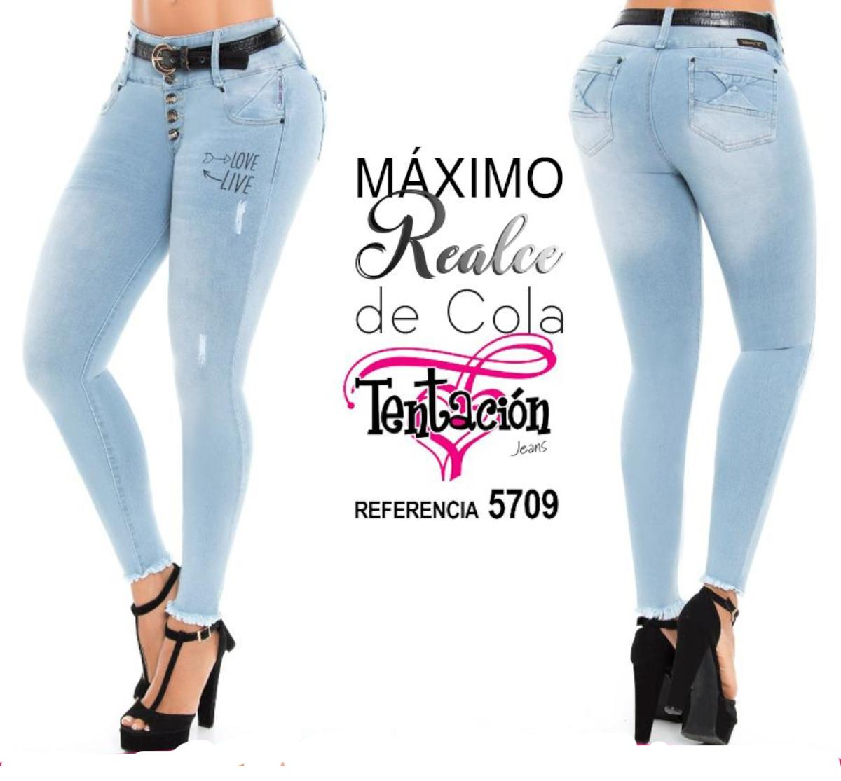 Light Blue Jean Jean Colombian Jeans with Pockets, Tail Lift Effect