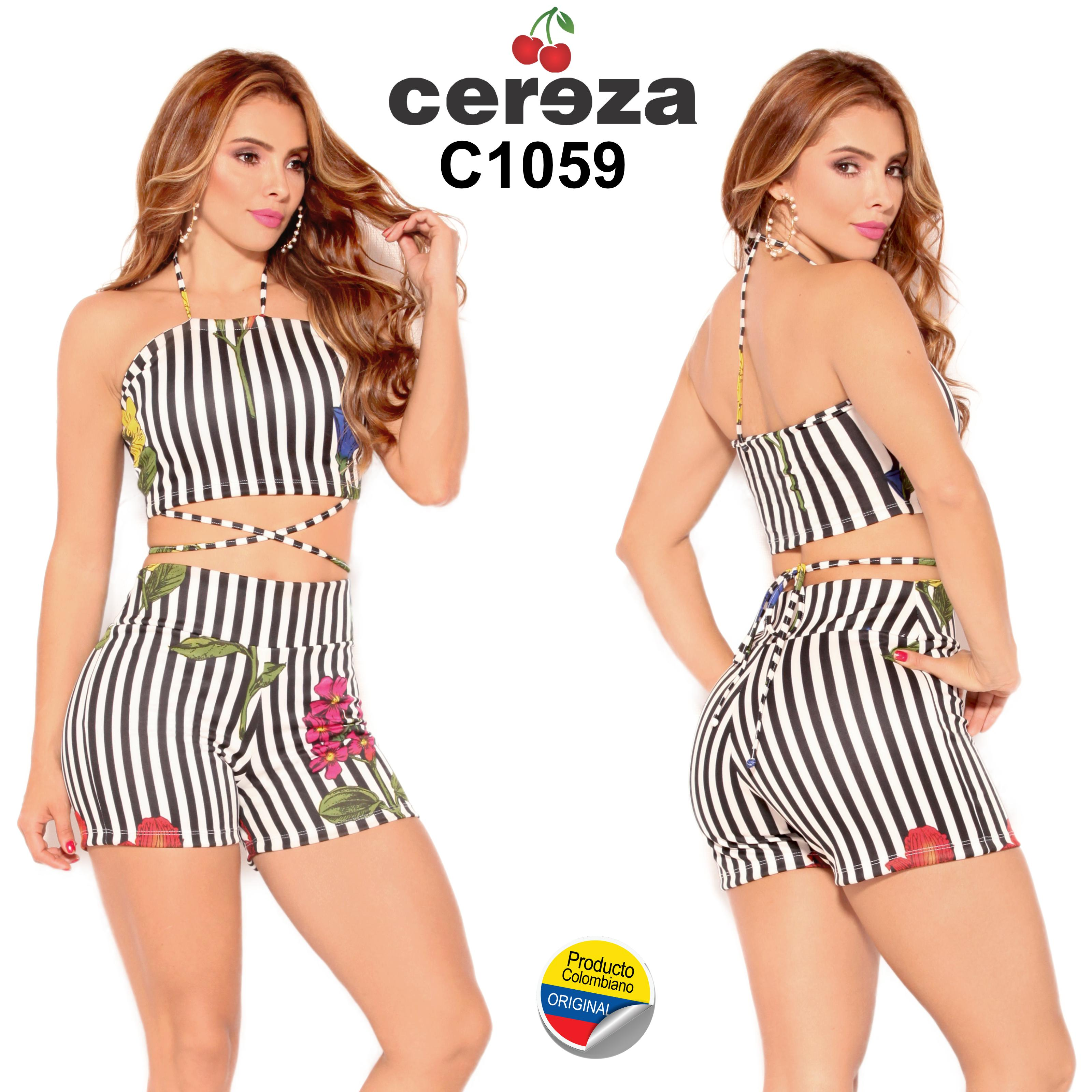 Colombian Short and Blouse in Set for Summer, Colors Black and White with Striped Design