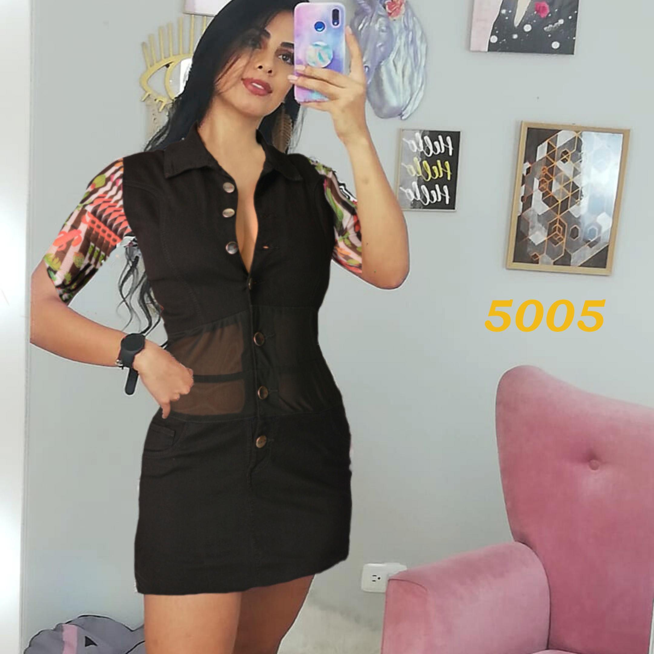 Fantástico Vestido en Tela Vaquera en Color Negro con Botones delanteros, cuello y Mangas de estilo floral.