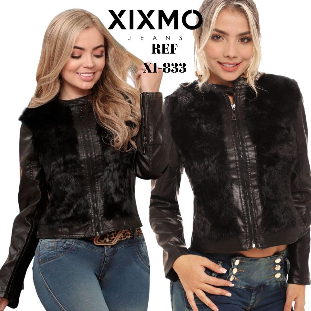 Leather style jacket with plush appliqués and front zip