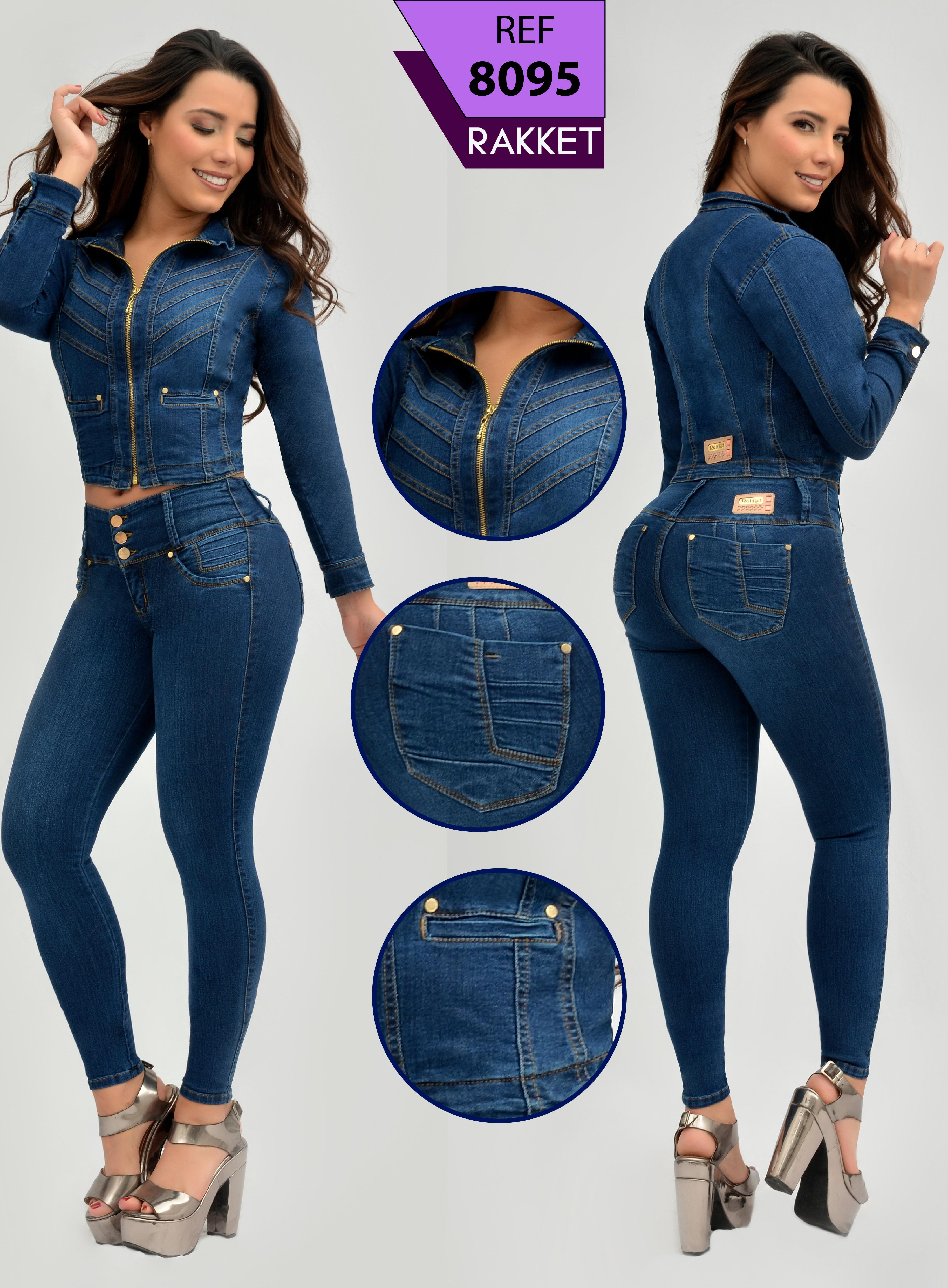 Colombian cowboy set long-sleeved jacket and jean push up