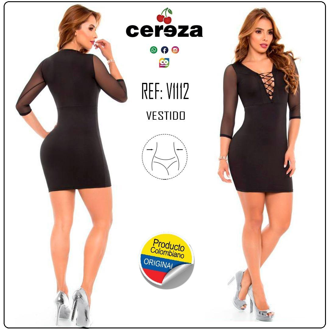 Colombian Dress With Waist Compression and 3/4 sleeves semi transparent