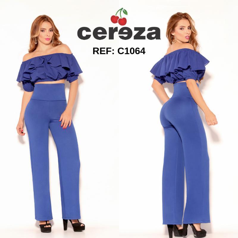 Conjunto de Pantalón y Blusa Colombiano, con Pretina control de abdomen y Blusa Moderna en Capas