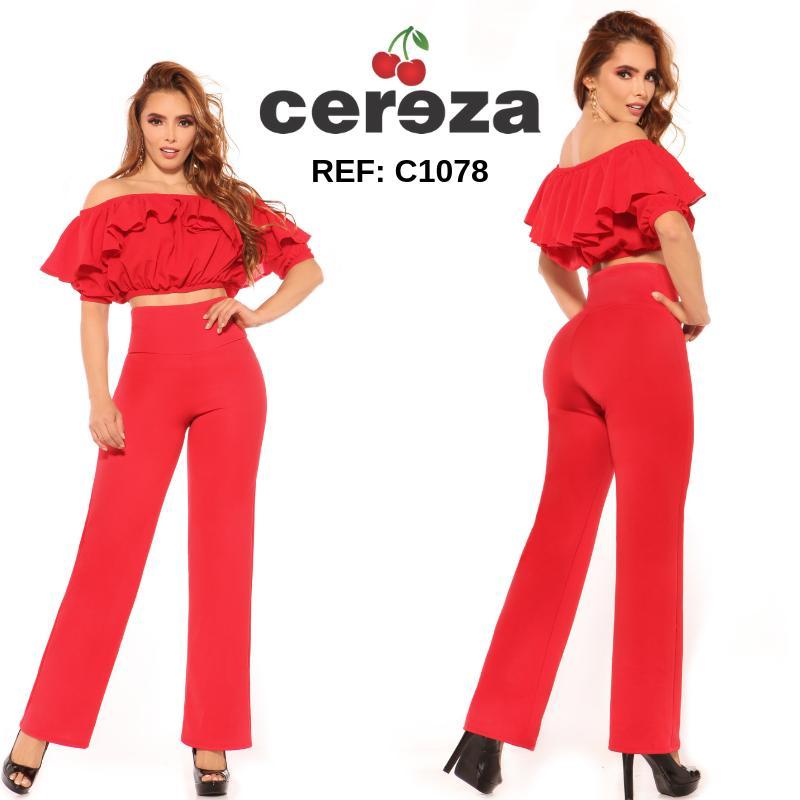 Hermoso Conjunto de Pantalón y Blusa para dama color rojo, con hombros descubiertos y pretina alta control de abdomen