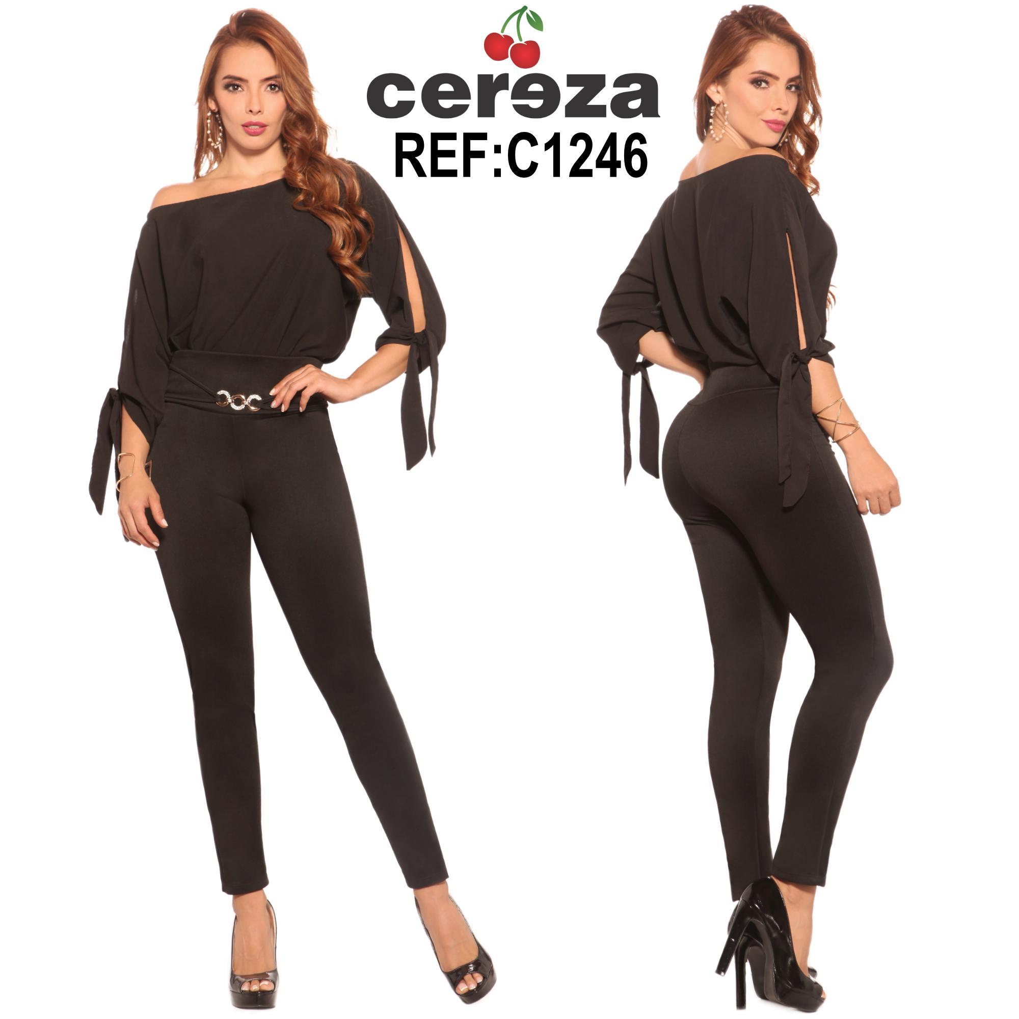Conjunto Colombiano, Blusa un hombro , mangas al antebrazo y pantalón largo color negro