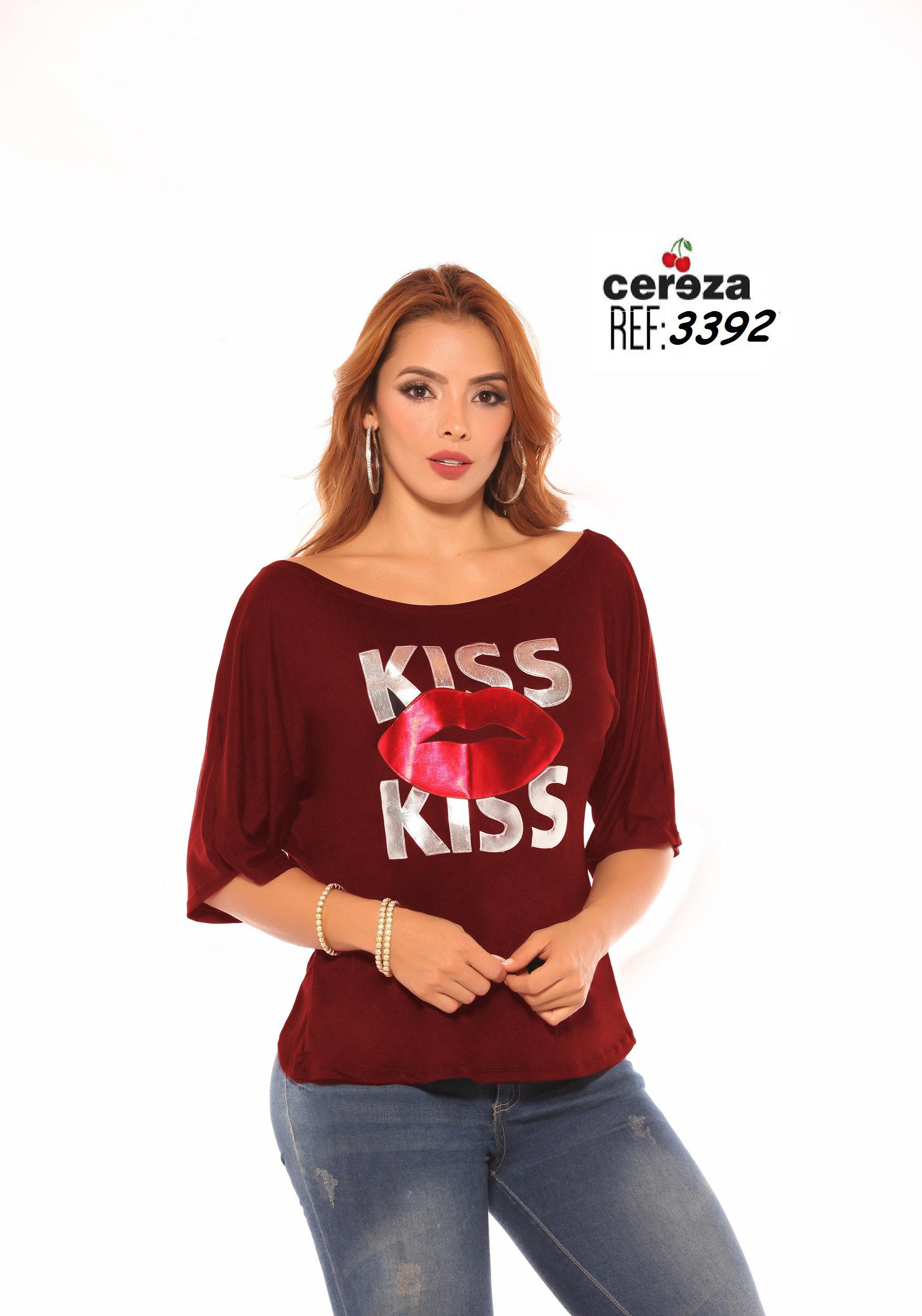 Sensacional Blusa Colombiana Sexy Cereza Media Manga, Incluye Top