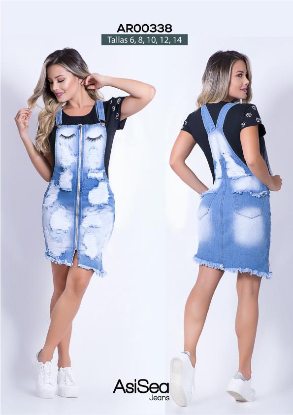 Overol mono falda en jean colombiano