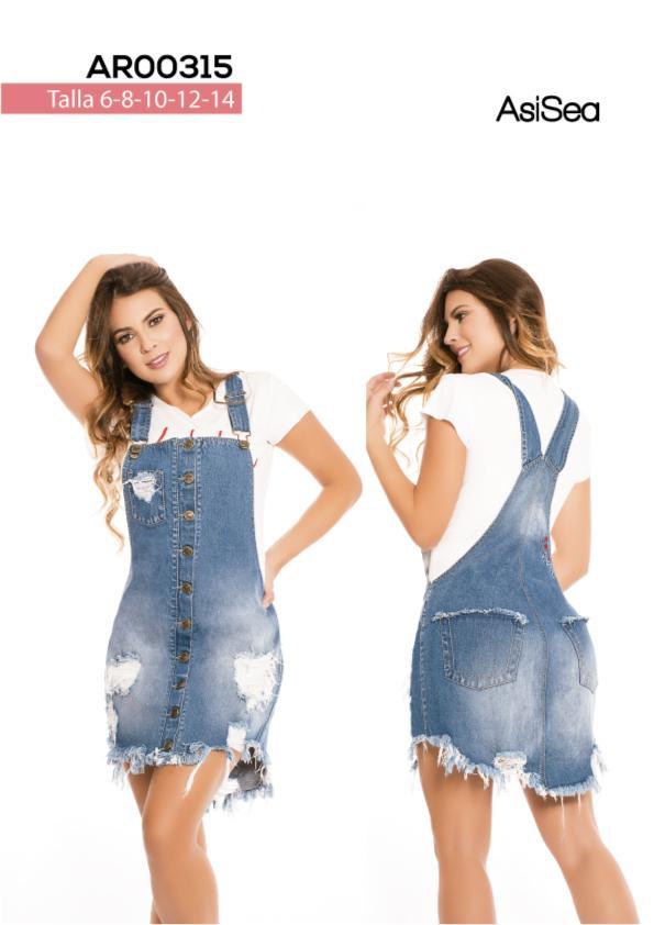 Overol falda en jean con desgastes