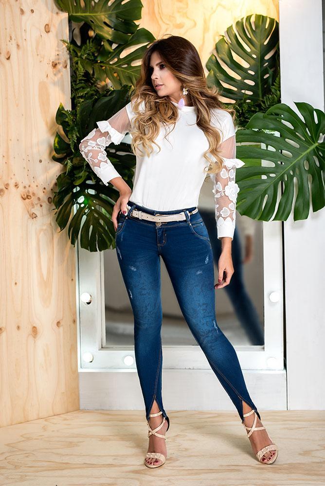 Vaquero Para Dama Diseño Levanta Cola Colombiano piel de durazno