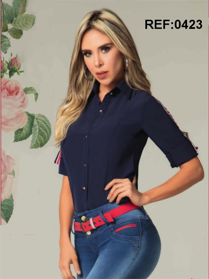 Camisa Para Dama Colombiana de Moda con Manga medio Brazo y Botones frontales