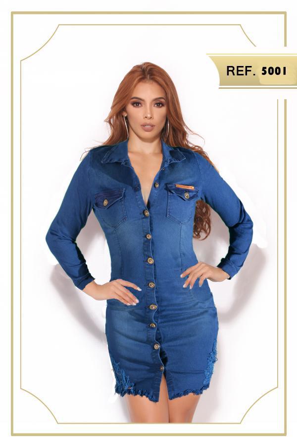 Hermoso Vestido Colombiano de Jeans Corto y con Mangas
