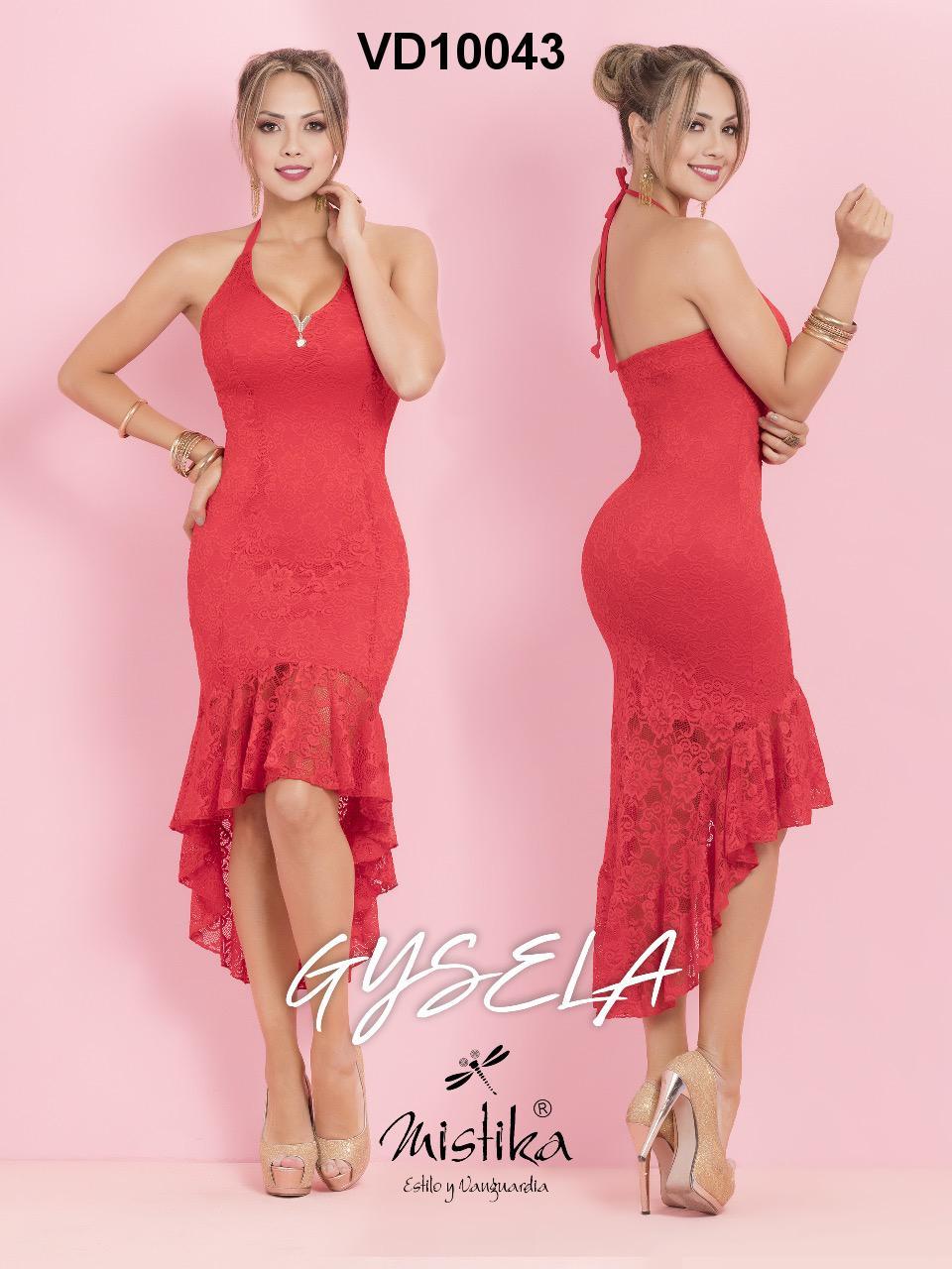 Sensacional Vestido Colombiano Corto con Diseño único en Espalda y Falda