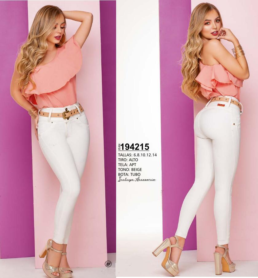 Hermoso Pantalon de Dama, Blanco con Diseño Levanta Cola y Pretina Alta Para Realzar y moldear tu figura.