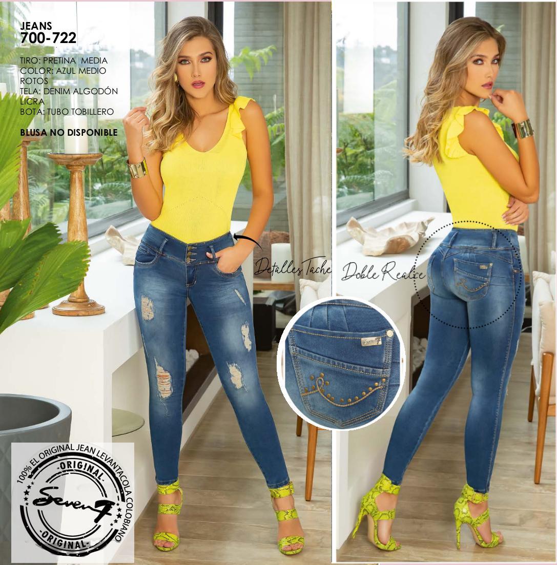 Jean Vaquero Colombiano de Moda, Con Bota Entibada y Pretina Mediana, Diseño Exclusivo con Rotos y Doble Realce de Gluteos