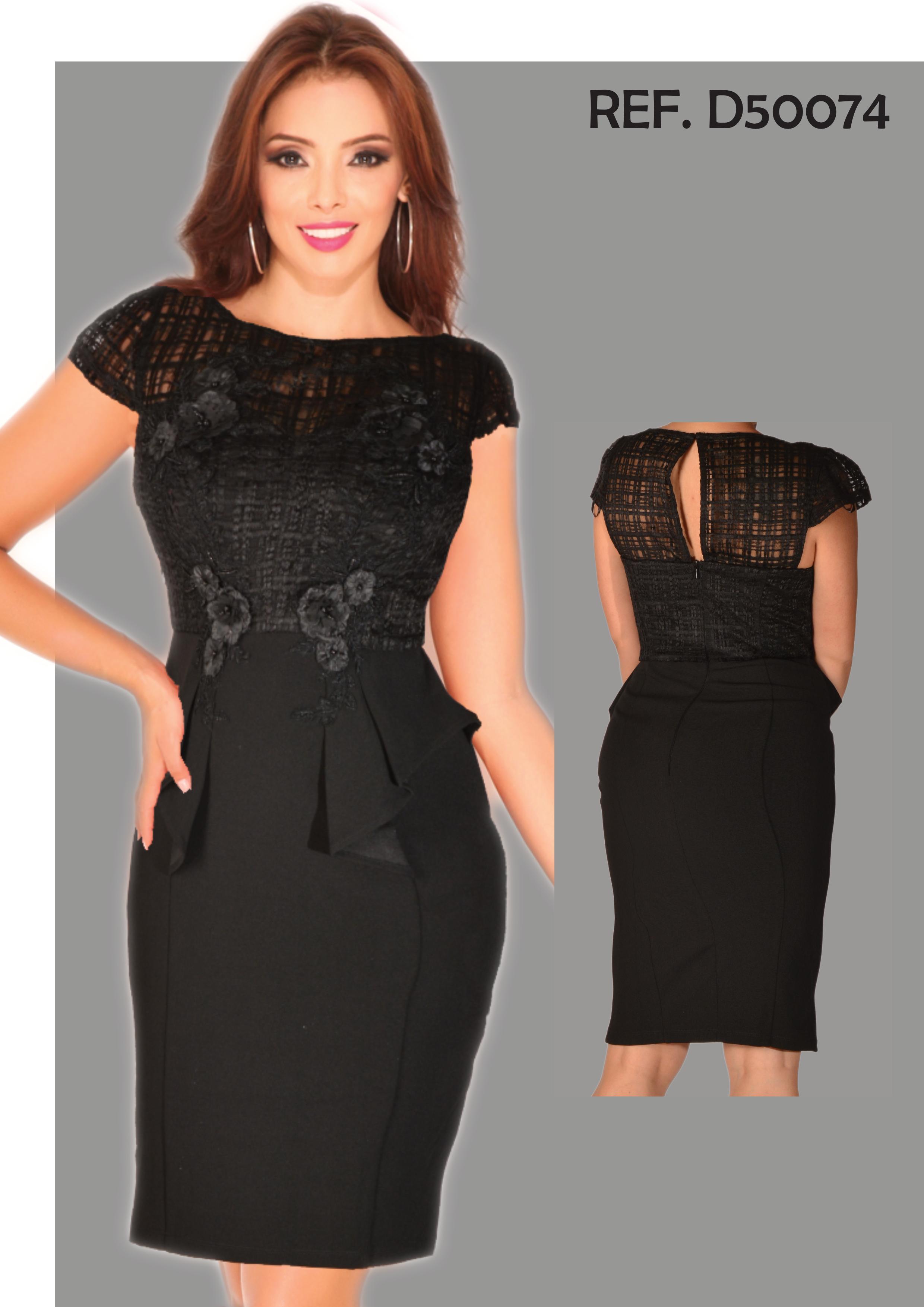 Vestido Americano de Fiesta clásico color negro con decorado Superior artesanal de Flores y Malla