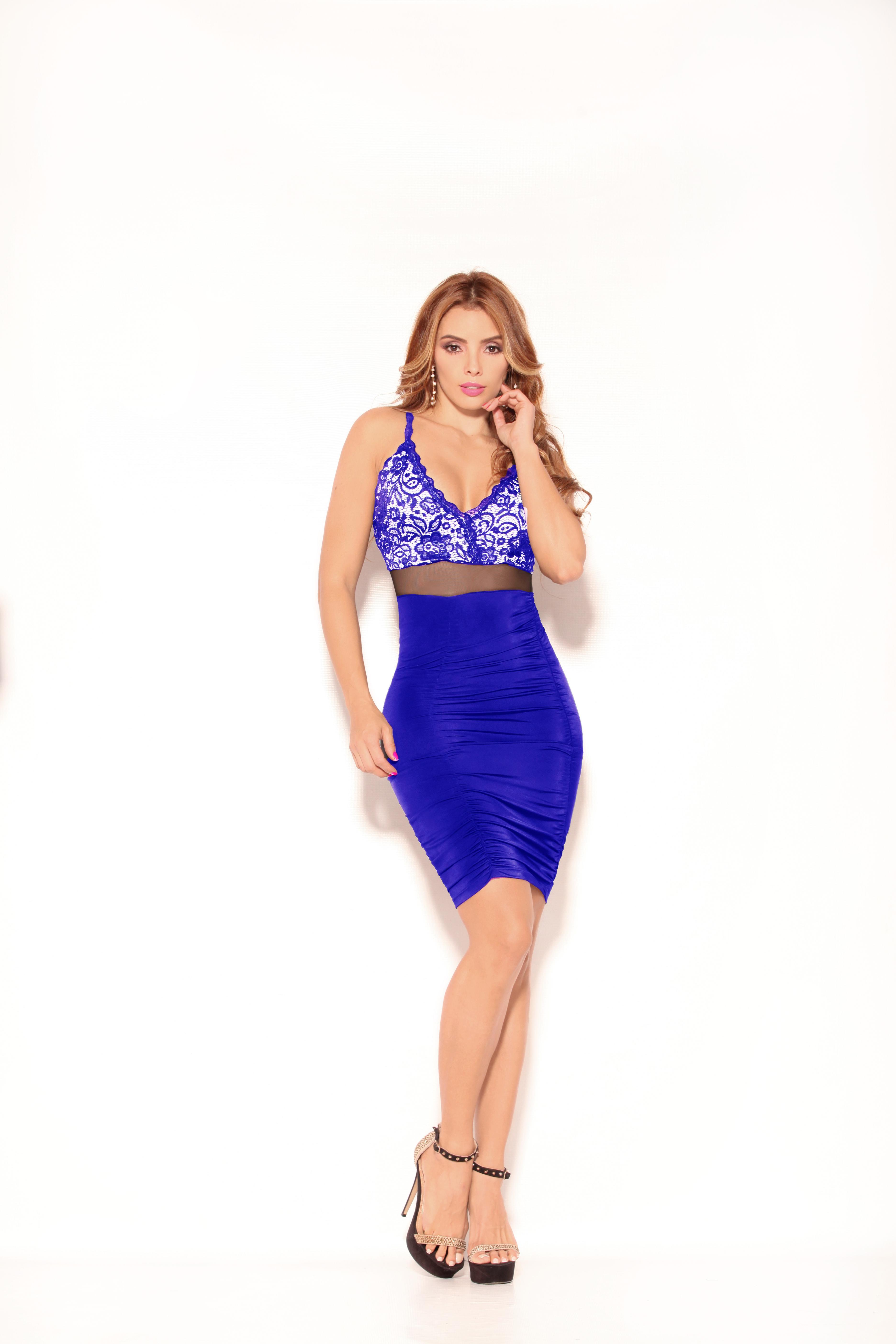 Fantástico Vestido Corto Colombiano Marca Cereza en color Azul y superior Decorado
