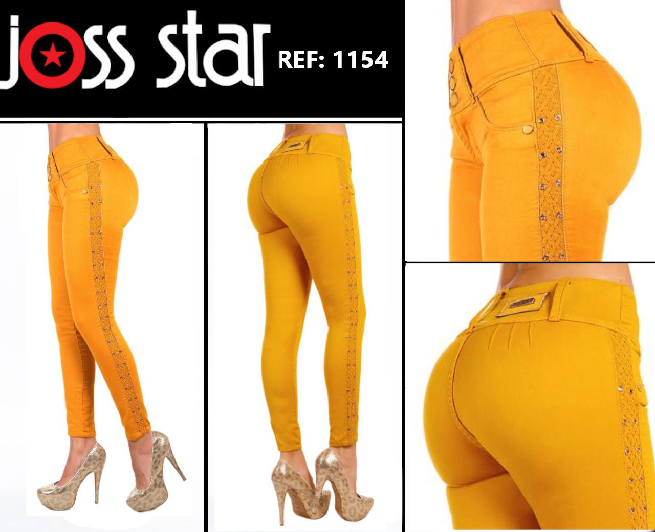 Jean De moda Boutique Colombiano Levantacola Color Mostaza marca Joss Star