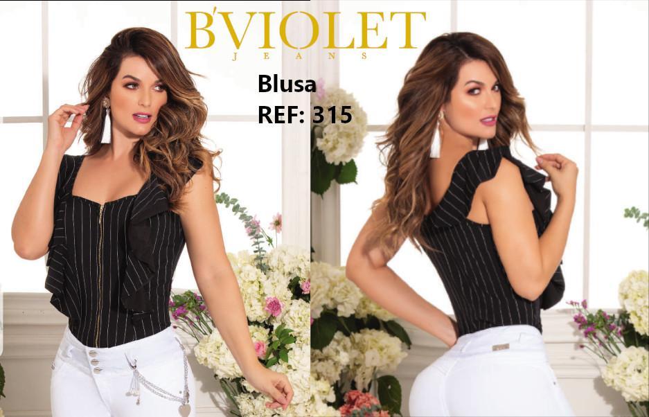Blusa para Dama sin Mangas color negro y franjas blancas. Hermoso diseño en los Hombros