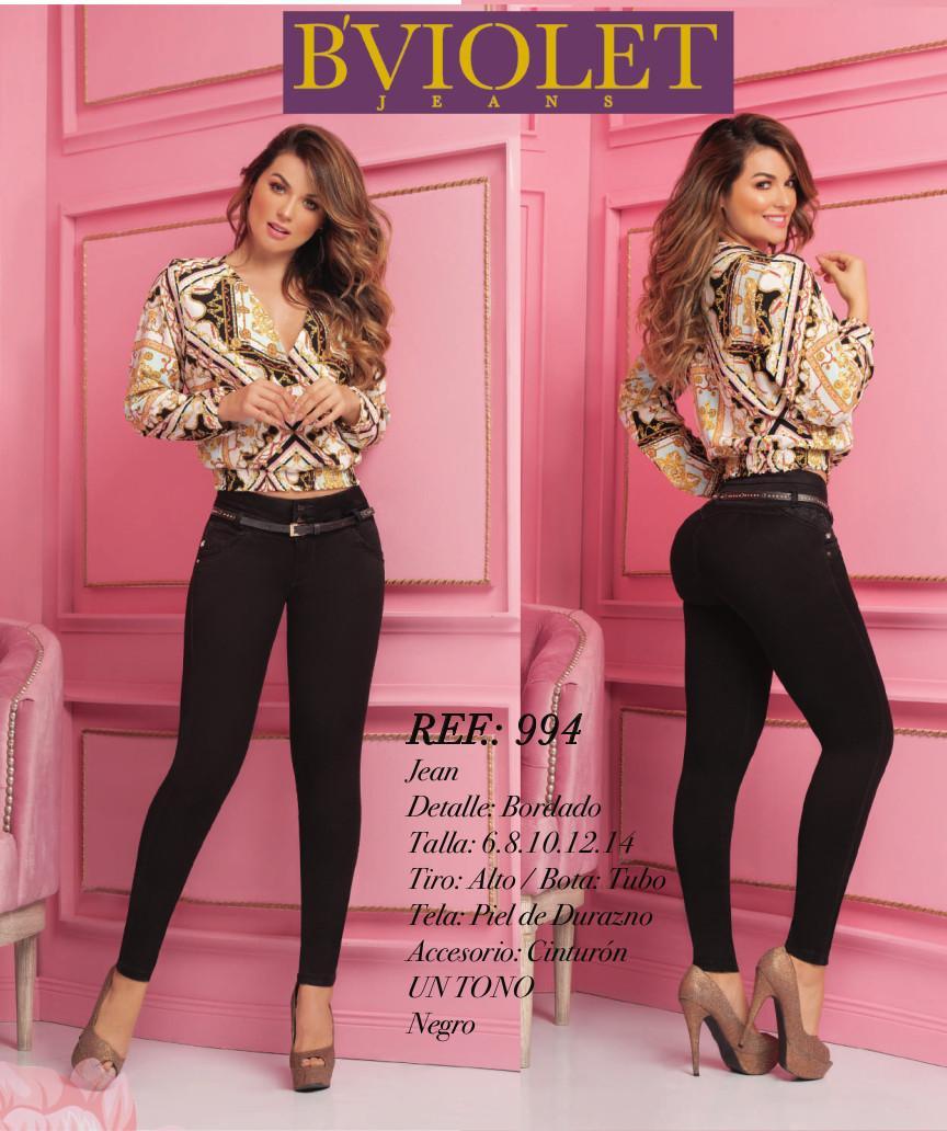 Pantalón para dama hecho en Colombia, color negro estilo Bordado y con talle Alto 3 Botones y un cinturón incluido.