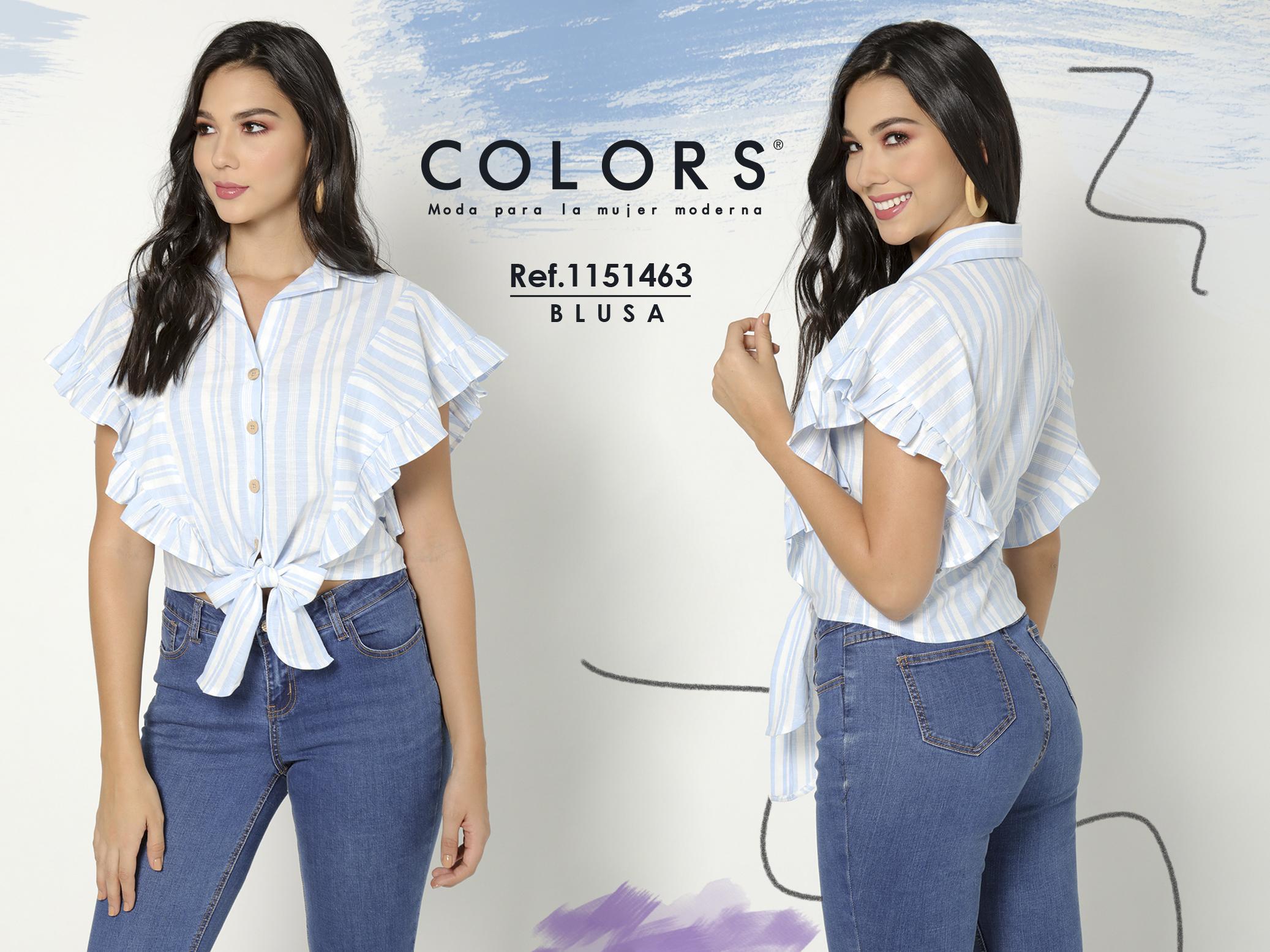 Hermosa Blusa Para Dama con Mangas cortas y Botones Frontales, Color Azul Claro con Franjas blancas, decorado de boleros y moño adelante