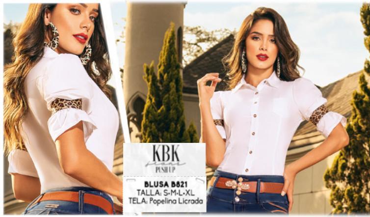 Blusa Colombiana Color blanco Estilo Camisa con Botones delanteros y  cuello, decorado en las mangas