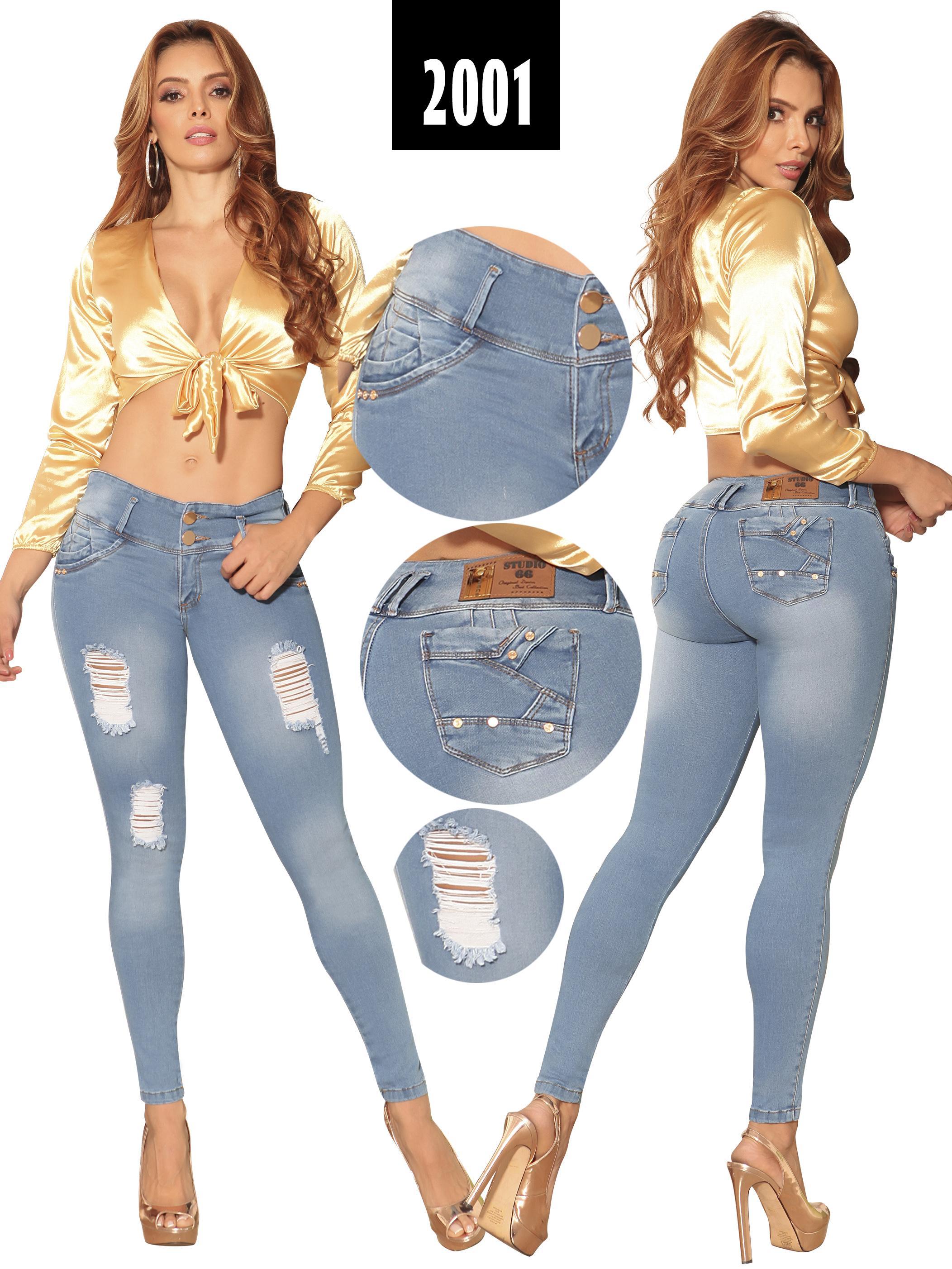 Pantalón de Dama Levanta cola Colombiano con Bolsillos traseros y desgastes destroyer en frontal. Marca Original Studio 66