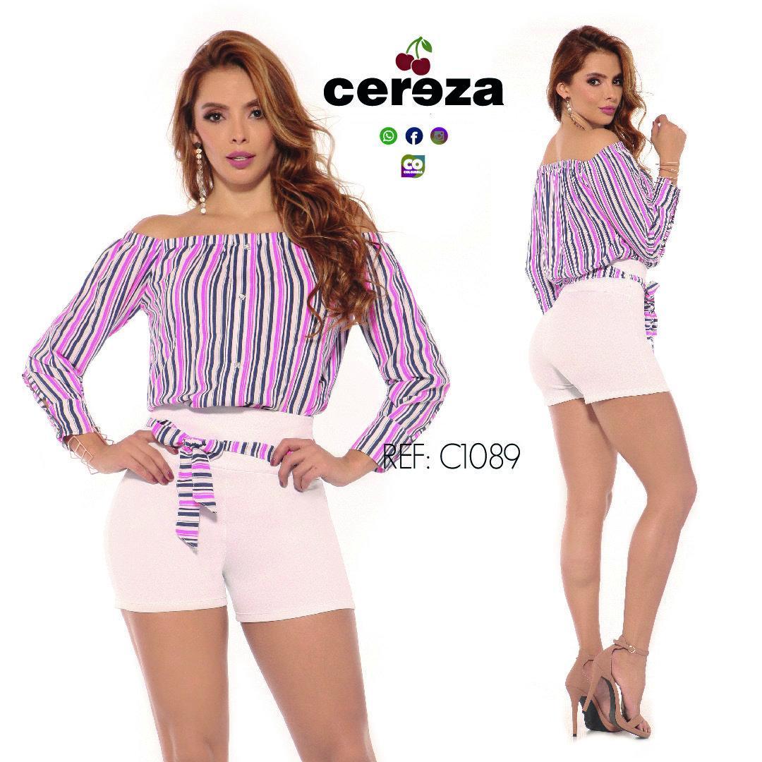 Conjunto Colombiano de Moda Corto con Short y Blusa