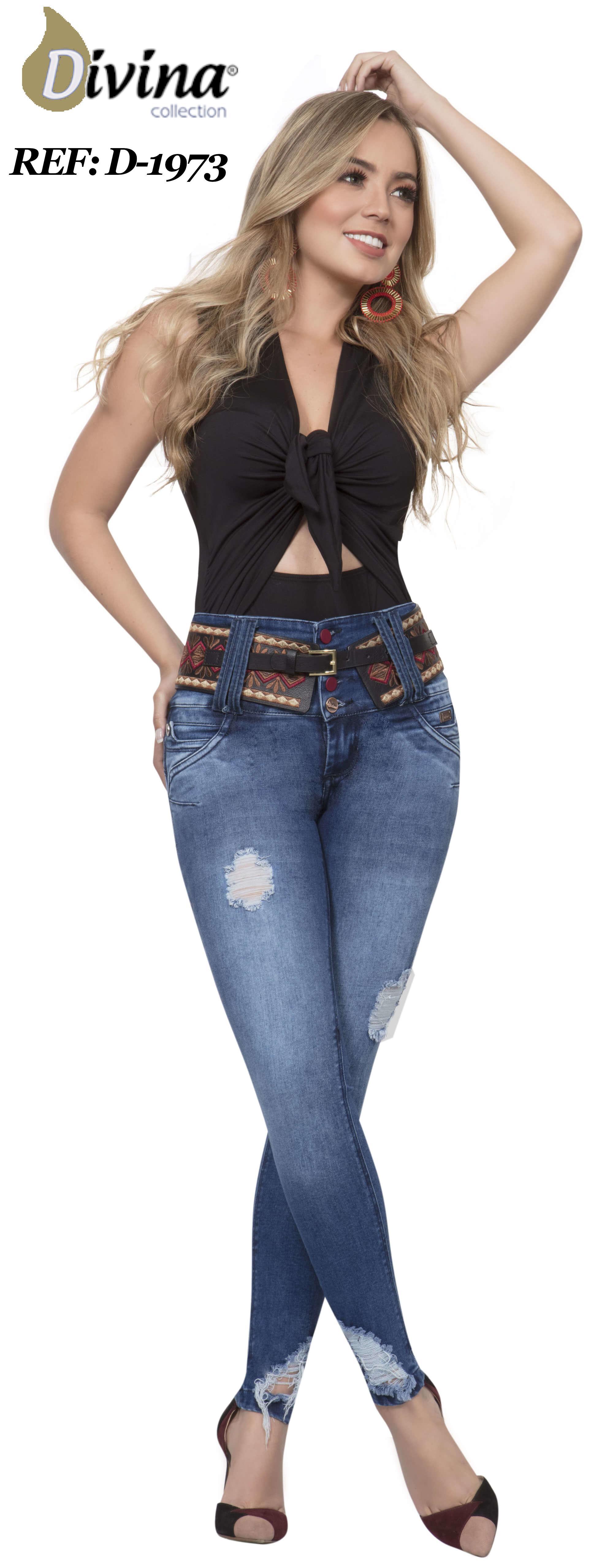 Jean Colombiano Levanta Cola de Moda con Pretina Alta que ayuda con el control de cintura