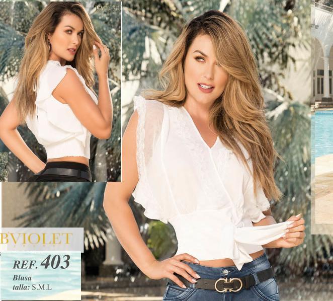 Sexy Blusa Colombiana con Mangas Amplias y transparencia color blanco
