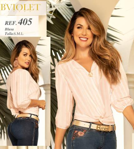 Camisa Para Dama con Estilo Blusa Color Rosado y Manga a la mitad del brazo