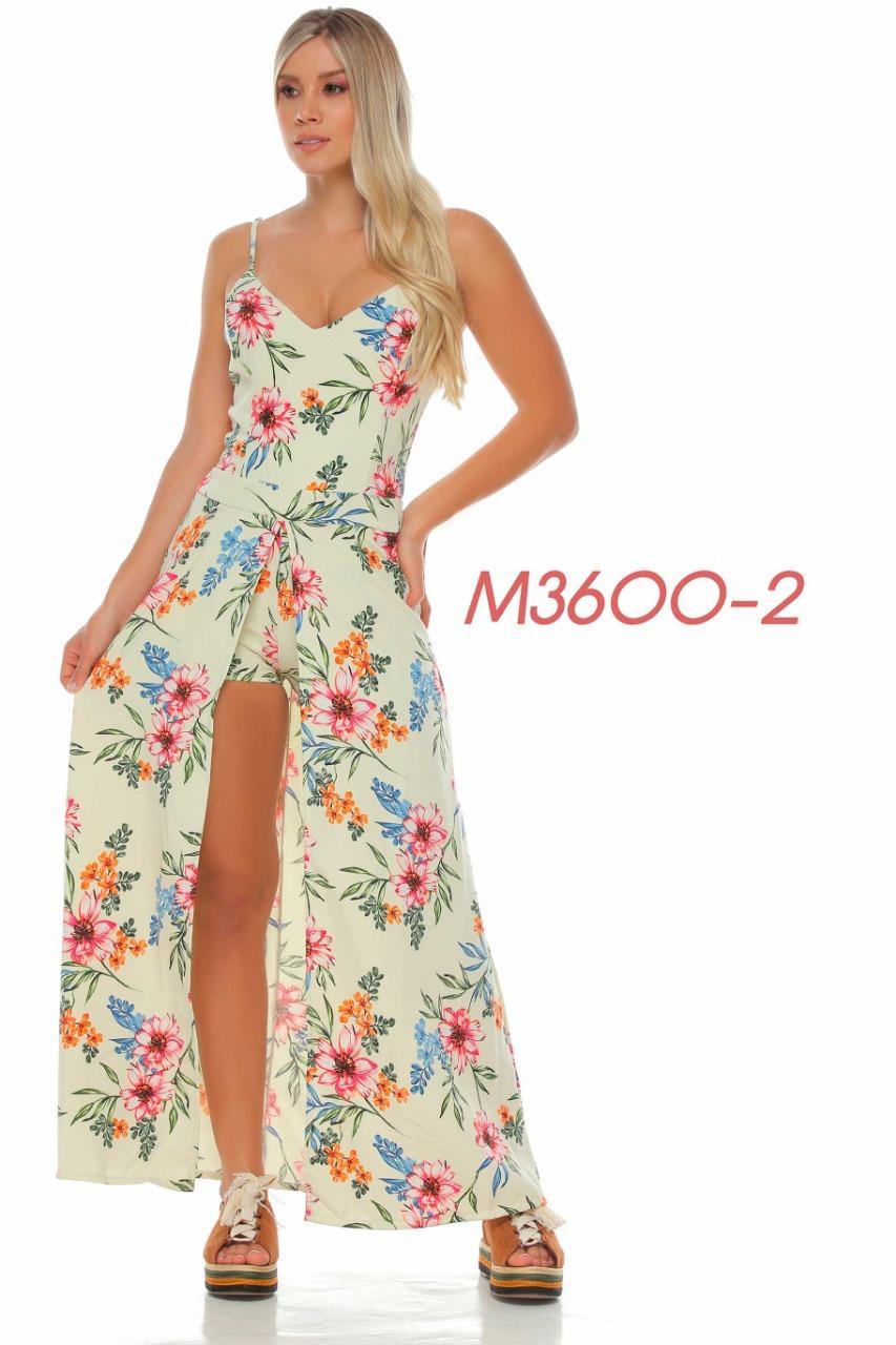 Hermoso Vestido Colombiano de Moda Con Estampado Floral, Short Corto Abajo y falda larga con abertura frontal