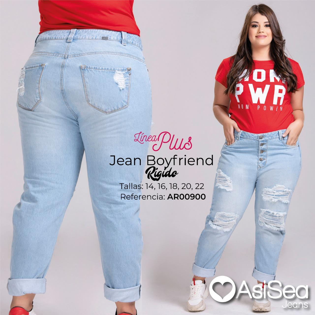 Jean Boyfriend Colombiano Tallas Especiales con Bolsillos  y Decorado con Destroyer