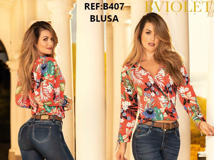 Blusa Colombiana con Mangas Largas estampado Floral y color rojo
