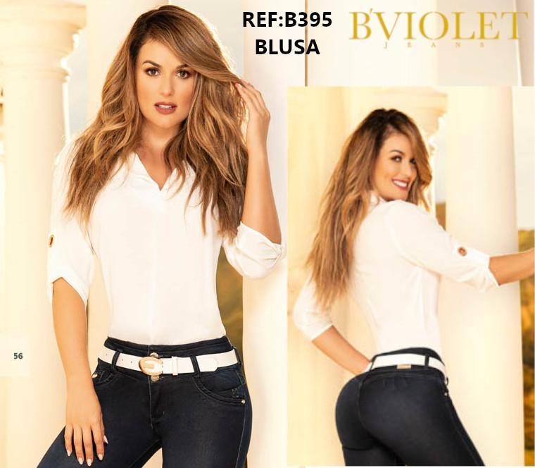 Blusa Colombiana de Moda con Mangas a la mitad del brazo y Cuello en V