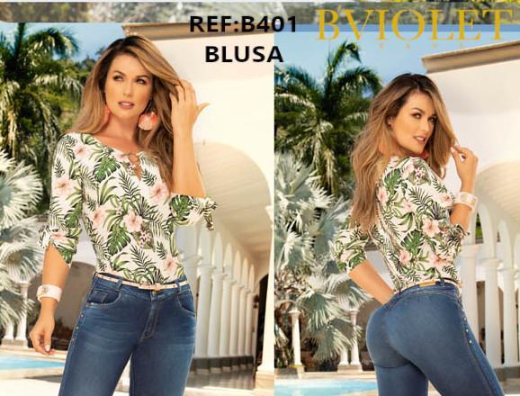 Blusa para dama con estampado Selvático, mangas a la mitad del brazo, hecha en Colombia.