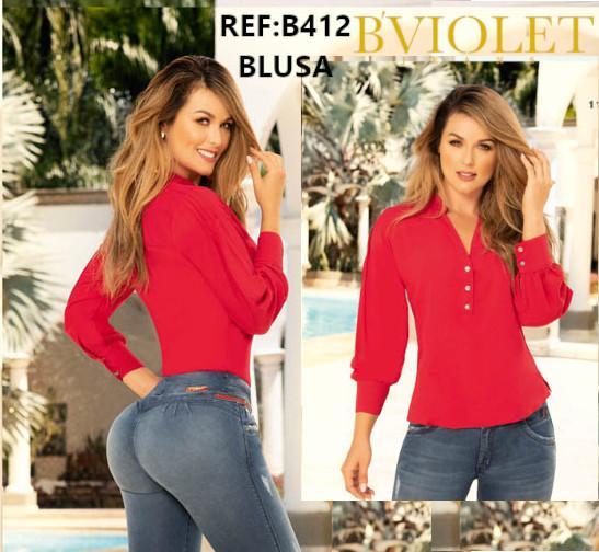 Blusa Colombiana de Moda, Color Rojo y Mangas Largas. Botones decorativos en frente